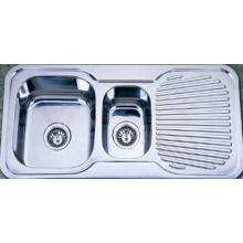 Двойная раковина для кухни Bowl с одной дренирующей доской (Kid9848)