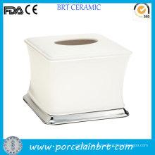 Branco caixa de tecido de cerâmica pequena cerâmica