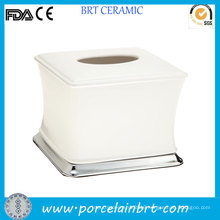 White Small Ceramic Facial Tissue Box