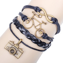 handmade DIY infinity bracelet alloy bike and camera antique bronze plating black leather wax cord wholesale infinity bracelets