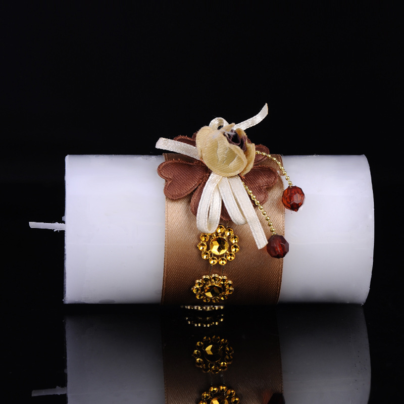 Decorative Paraffin Wax Wedding Favors Pillar Candle
