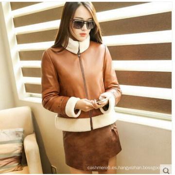 Nuevos diseños de estilo corto Shearling Leather Coat para mujeres Wholesell