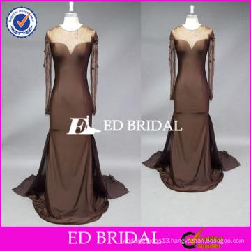 ED Bridal Custom Made Beaded Long Sleeve Mermaid Spandex Mother Of The Bride Dress