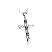 Hip Hop Jewelry Men Gold Stainless Steel Zircon Cz Cross Pendant Necklace