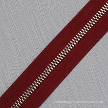 Zíper longo dos dentes da prata do metal da corrente para os vestuários 7040