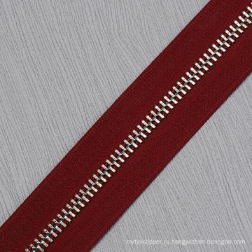 Длинная цепочка серебристого металла зубы молнии для одежды 7040