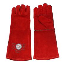 Guantes de soldadura de mano de cuero de vaca largo rojo con Kevlar cosido
