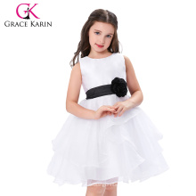 Grace Karin vestido sin mangas baratos niña de flores blanco y negro CL007548-1