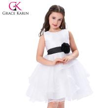 Grace Karin Sleeveless Cheap Flower Girl Dress White and Black CL007548-1