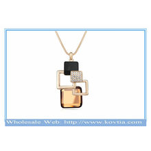 France fashion 18k gold-plated magic cube geometry popular crystal sweater necklace