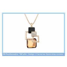 Франция моды 18k позолоченные магии куб геометрии популярных кристалл свитер ожерелье
