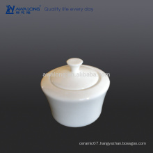 plain pure white coffee sugar bowl bone china for cafe and hotel