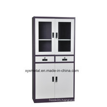Metal -Double Glass Door Lock Two Middle Drawer Office Filing Cabinets