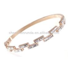 Fashion zircon strass en cristal tchèque en acier inoxydable rose plaqué or pour femme design personnalisé bracelets en métal bracelets bijoux