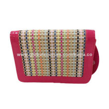 Women Straw Satchel with Multi-stripe in PU Trim, Various Colors are Available, Suitable for Outing