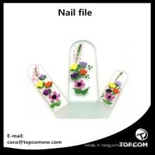 Ensemble de 3 limes à ongles en verre avec peinture pour manucure et pédicure, peintes à la main