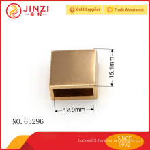 shiny gold zipper end, square zipper end made in metal, Guangzhou handbag hardware