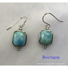 Fashion Larimar Sterling Silver Earrings (E1193)