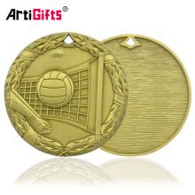 Medallion Company Médaille de bronze gravée de volleyball Pièce et prix
