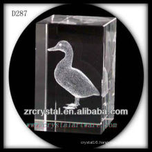 K9 3D Laser Etched Duck Inside Crystal Rectangle