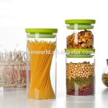 Bidon en verre résistant à la chaleur imperméable à l'eau promotionnel réglé avec le couvercle en plastique vert