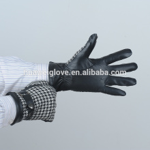 2015 Fashion and Warm Men's Leather Gloves with Houndstooth Woven Fabric