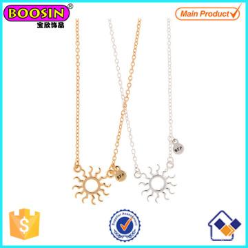 Los mejores amigos de plata y oro Sun Tag Collares # Scn03