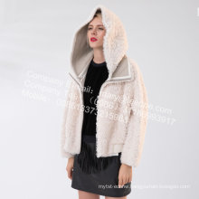 Women Short Icelandic Lamb Fur Winter Jacket