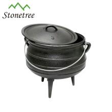 Pot en pot à trois pattes en fonte d'Afrique du Sud