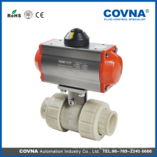 polypropylene PP material double union pneumatic ball valve for acid and base