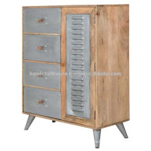 Industrial Metal and Mango wood 4 Drawers and 1 door Sideboard
