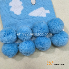 Cute Children's Knitted Scarf with Pockets and Pompom