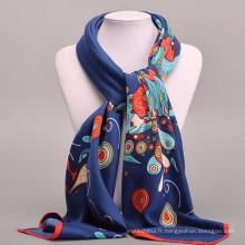 Confortable jolies femmes 100 * 100cm impression carré écharpe en gros femmes conception soie foulards en soie