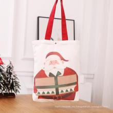 Bolsos tote de lona de algodón rojo navideño con asa