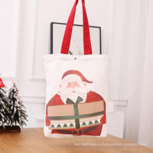 Рождественские красные хлопковые холщовые сумки с ручкой
