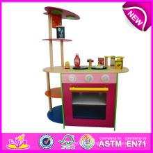 Cuisine de jouet de jeu de rôle 2014 pour enfants, jeu de cuisine en bois coloré de jouet pour des enfants, cuisine en bois de jouet de vente chaude pour bébé W10c086