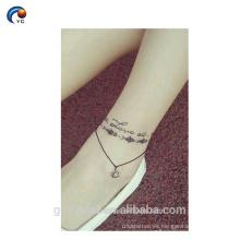 Tatuaje de cuerpo de pegatina Word simple, diseño personalizado temporal con estilo increíble en YinCai