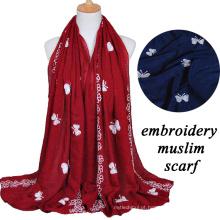2017 moda tendência best-seller africano muçulmano bordado borboleta projetos hijab cachecol mulher grande lenço de algodão xale