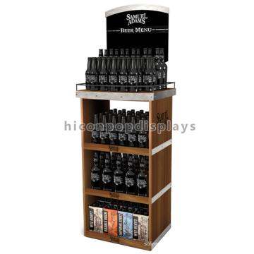 Alkohol Einzelhandel Store Marketing Stand Stand Standing 3-Layer Wooden Energy Drink Bier Wein Display