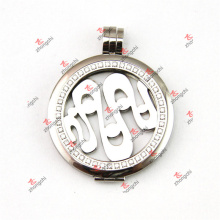 38mm Stainless Steel Crystal Coin Lockets Charms Pendant (SCL50925)
