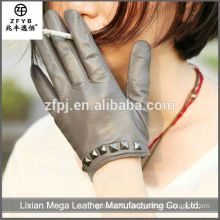 Fashion women leather gloves with studs