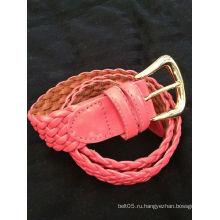 Тальбот Розовый кожаный кожаный шлем Тканый ремень Твердая латунная пряжка New