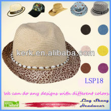 LSP18 Ningbo Lingshang heiße Verkaufs-populäre Shell-Dekoration-Frauen 100% Papier-Stroh stilvolle Wannenhüte