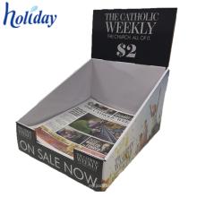 Estante de exhibición de la cartulina de la revista de papel, tenedor de compartimiento plegable