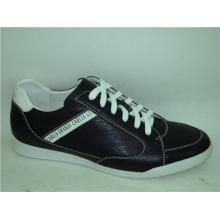 Sapatos de couro preto Mens esportes de renda (NX 510)