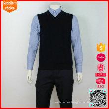 La nueva manera hizo punto el chaleco del suéter de las lanas del chaleco del suéter de los hombres del cuello v del chaleco