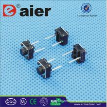 Daier KFC-A06-HB Botão Vermelho / Preto longo pé 2 pinos Interruptor Tact Botão