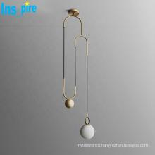 High quality hotel simple light luxury metal brass glass pendant lights LED chandelier