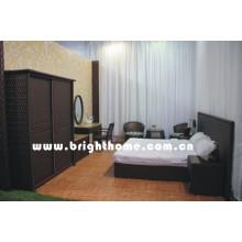 Conjunto de móveis de quarto de vime de vime