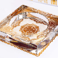 High end clear crystal glass ashtray,unique glass terrarium for cigar smoking,for office business